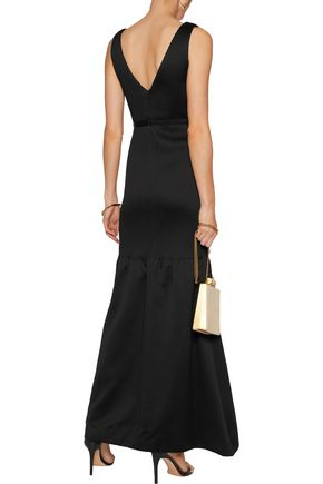 HALSTON HERITAGE Crepe-paneled ribbed neoprene gown