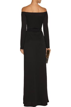 HALSTON HERITAGE Belted stretch-jersey gown