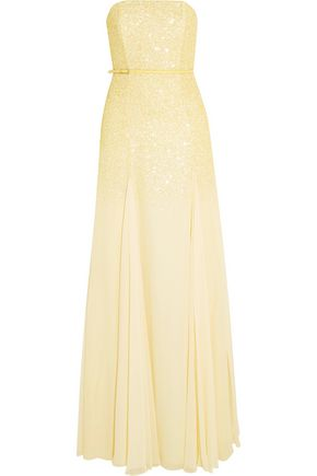 HALSTON HERITAGE Belted sequined chiffon gown