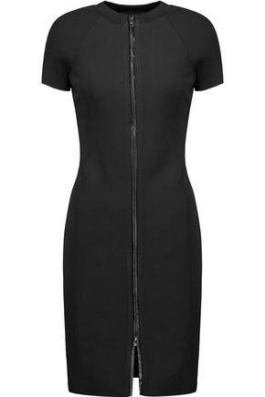 HALSTON HERITAGE Ribbed-knit paneled and faux leather-trimmed ponte dress