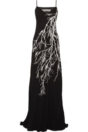 HALSTON HERITAGE Embellished printed crepe gown