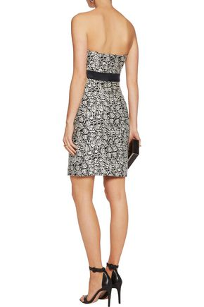 HALSTON HERITAGE Strapless embroidered jacquard mini dress