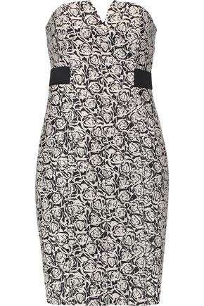 HALSTON HERITAGE Strapless embroidered jacquard mini dress