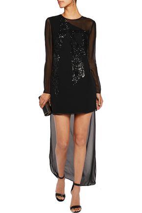 HALSTON HERITAGE Sequin-embellished silk-chiffon mini dress