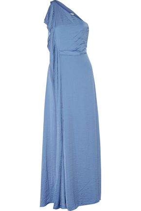 HALSTON HERITAGE One-shoulder washed-sateen gown
