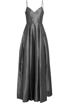 HALSTON HERITAGE Pleated satin-twill gown