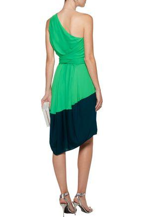 HALSTON HERITAGE One-shoulder two-tone crepe de chine midi dress