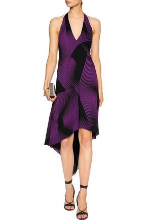 HALSTON HERITAGE Draped printed chiffon halterneck dress