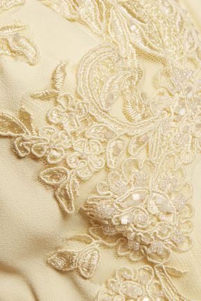MARCHESA NOTTE Floral-appliquéd crepe gown