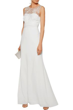MARCHESA NOTTE Sequin-embellished embroidered crepe gown