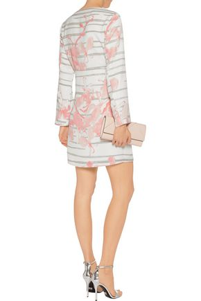 HALSTON HERITAGE Printed crepe mini dress