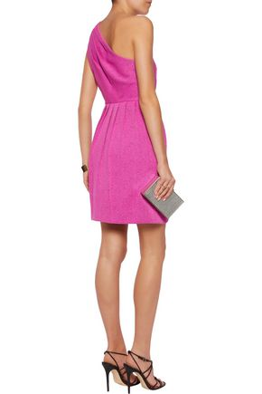 HALSTON HERITAGE One-shoulder jacquard mini dress