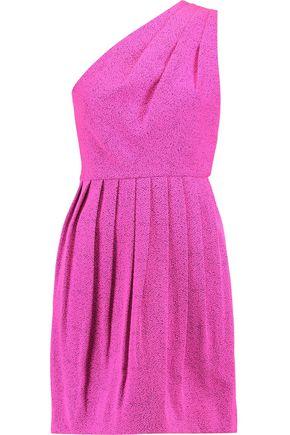 HALSTON HERITAGE One-shoulder jacquard mini dress