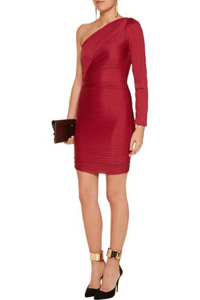 HALSTON HERITAGE Crinkled satin-jersey one-shoulder mini dress