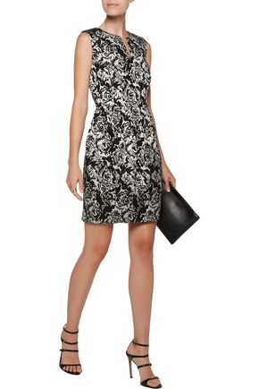 HALSTON HERITAGE Metallic jacquard dress