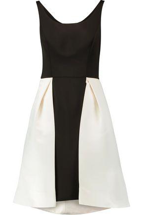 HALSTON HERITAGE Two-tone pleated satin dress