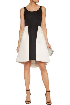 HALSTON HERITAGE Two-tone pleated satin dress