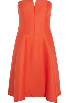 HALSTON HERITAGE Strapless cotton and silk-blend dress
