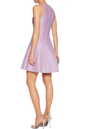 HALSTON HERITAGE Paneled cotton and silk-blend mini dress