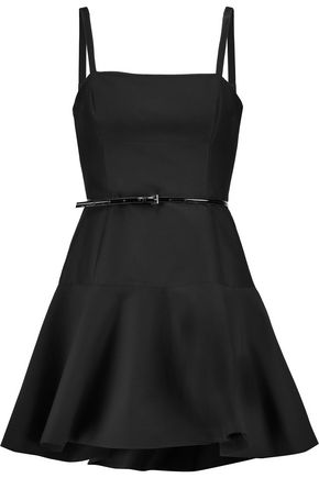 HALSTON HERITAGE Belted fluted cotton and silk-blend mini dress