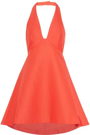 HALSTON HERITAGE Cotton and silk-blend halterneck dress