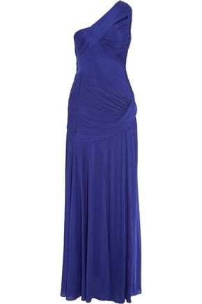 HALSTON HERITAGE One-shoulder pleated stretch-jersey gown