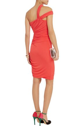 HALSTON HERITAGE One-shoulder ruched jersey dress