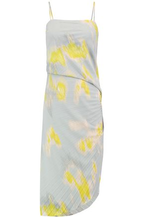 HALSTON HERITAGE Pleated printed jersey dress