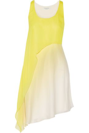 HALSTON HERITAGE Asymmetric ombré crepe mini dress
