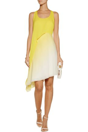 HALSTON HERITAGE Asymmetric ombré crepe mini dress