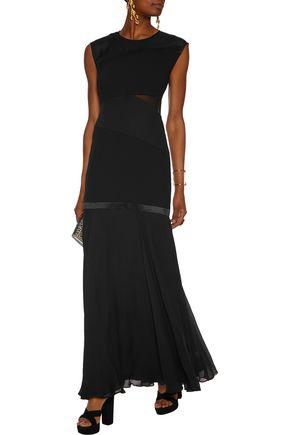 HALSTON HERITAGE Paneled silk gown