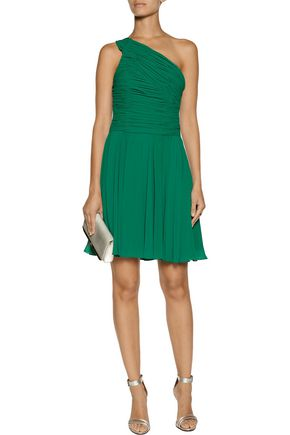 HALSTON HERITAGE One-shoulder ruched chiffon dress