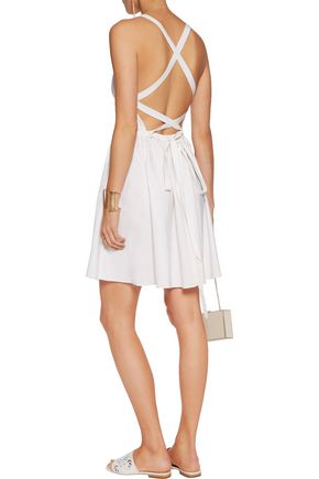 HALSTON HERITAGE Cotton and silk-blend halterneck dress