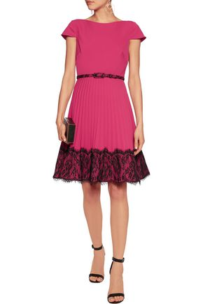 MIKAEL AGHAL Lace-paneled pleated satin-crepe dress