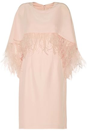 MIKAEL AGHAL Layered faux feather-trimmed satin-crepe dress