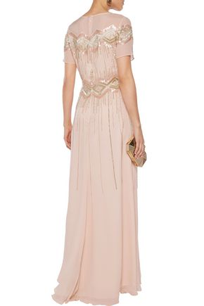 MIKAEL AGHAL Embellished silk-chiffon gown