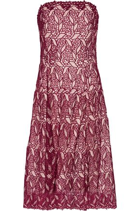 MIKAEL AGHAL Strapless guipure lace midi dress