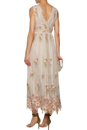 MIKAEL AGHAL Gathered embroidered tulle gown