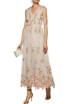 MIKAEL AGHAL Pleated embroidered tulle gown