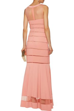 MIKAEL AGHAL Fluted paneled tulle and stretch-cady gown