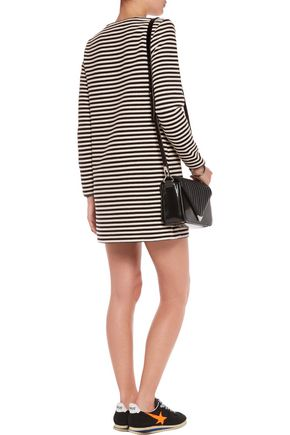 T by ALEXANDER WANG Leather-trimmed striped woven mini dress