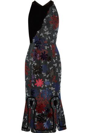ROLAND MOURET Appliquéd mesh midi dress