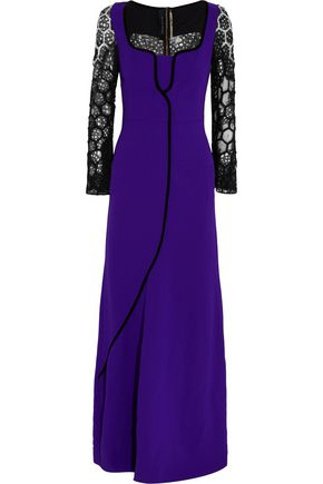 ROLAND MOURET Embroidered lace-paneled crepe gown