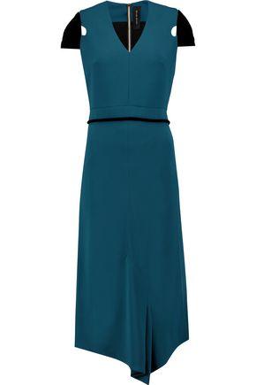 ROLAND MOURET Sansson velvet-trimmed crepe midi dress