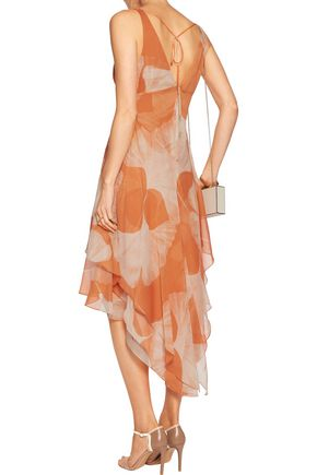 HALSTON HERITAGE Asymmetric printed chiffon dress