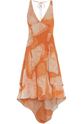HALSTON HERITAGE Asymmetric printed chiffon dress