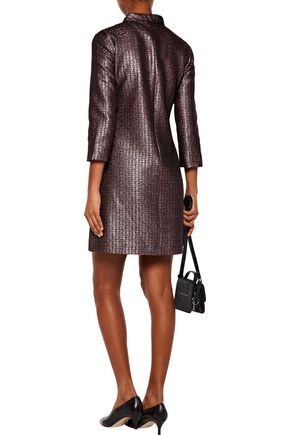 A.P.C. Metallic pleated tweed turtleneck dress
