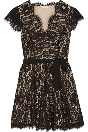 JOIE Sloane belted pleated corded lace mini dress