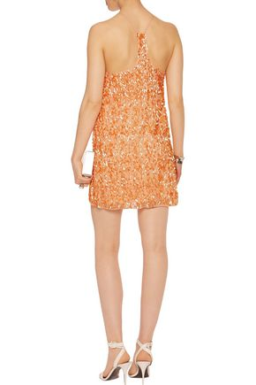 HALSTON HERITAGE Sequined silk mini slip dress