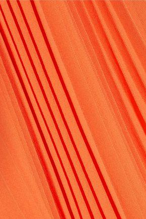 HALSTON HERITAGE Cutout plissé-georgette dress
